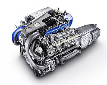 The new AMG 5.5 litre V8 biturbo engine.